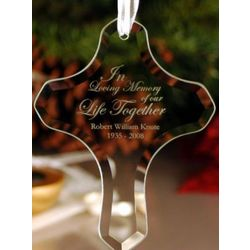 Personalized Glass Cross Ornament