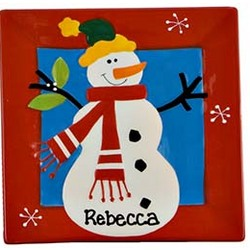 Personalized Small Red Snowman Plate