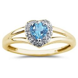 Heart Shaped Blue Topaz and Diamond Ring in 10K Yellow Gold