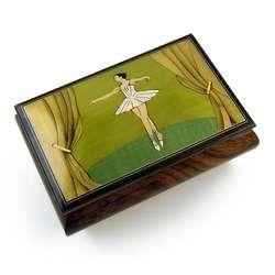 Ballerina Wood Inlay Musical Jewelry Box