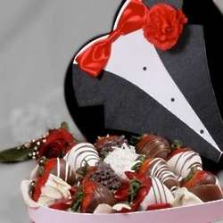 Chocolate Covered Strawberries Valentine Box for Him