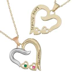 Two-Tone Couple's Name and Birthstone Love Always Necklace