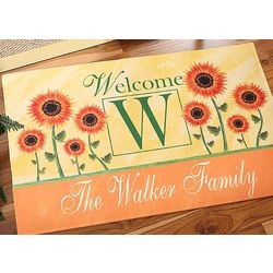 Personalized Summer Sunflowers Doormat