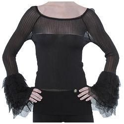 Italian Fringe Sleeve Black Blouse