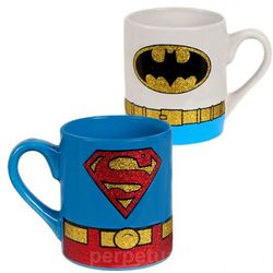 Batman and Superman Glitter Mug Set