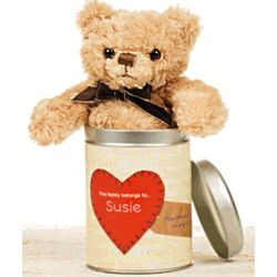 Teddy Bear in Personalized Heart Tin