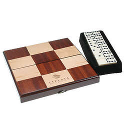Domino Set in Maple and Rosewood Checkered Box