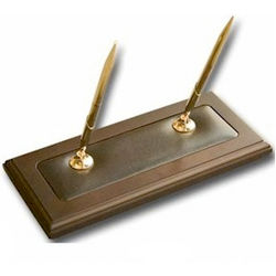 Walnut And Leather Wood Double Pen Stand