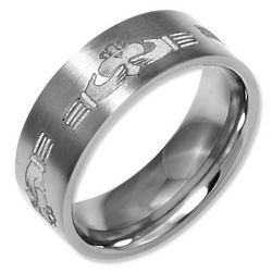 Irish Claddagh Titanium Wedding Band
