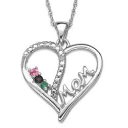 Sterling Silver Mother's Gemstone Heart Necklace