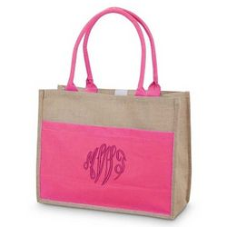3 Color Jute and Canvas Tote