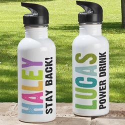 Kid's Personalized Hands Off Water Bottle