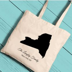 Personalized State Canvas Tote Bag
