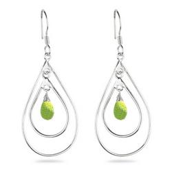Peridot Briolette Earrings in Sterling Silver