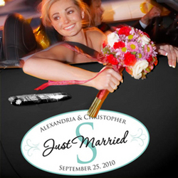 Just Married Monogram Wedding Window Cling