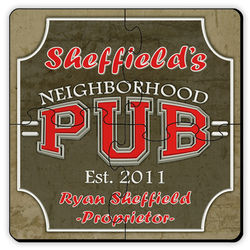 Personalized Coaster Puzzle Set with Neighborhood Pub Image