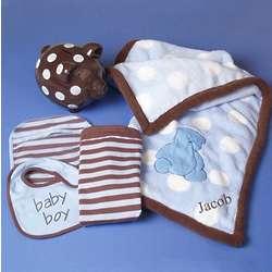 Blanket, Burp Cloth, Bib, and Piggy Bank Baby Boy Gift Set