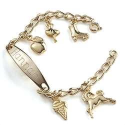 Engraved Kid's ID Charm Bracelet