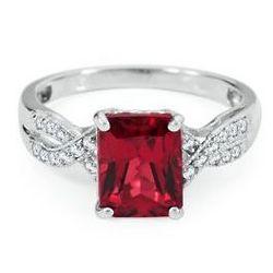 Sterling Silver Emerald Cut Lab-Created Ruby Twist Shank Ring