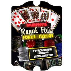 Personalized Marquee Nighttime Royal Flush Poker Vintage Sign