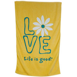 Sunny Yellow Life Is Good Daisy Love Bath Towel