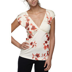 Italian V-Neck Top Cream Blouse
