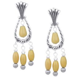 Sterling Silver Yellow Jasper Drop Earrings