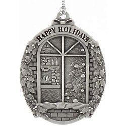 Engraved Pewter Window Scene Christmas Ornament