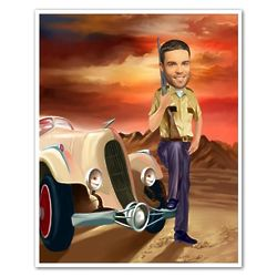 Route 66 Highway Patrol Personalized Caricature Print