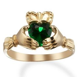 14 Karat Gold Claddagh Heart Birthstone Ring