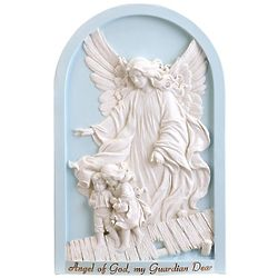 Guardian Angel Plaque with Blue Background