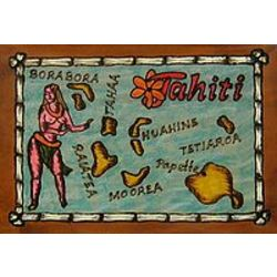 Tahiti Map Leather Photo Album In Color