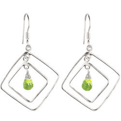 Peridot Briolette Drop Earrings in Sterling Silver
