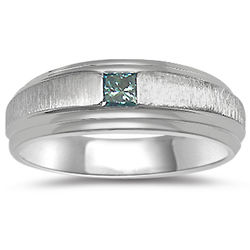 Blue Diamond Solitaire Mens Band in 14K White Gold