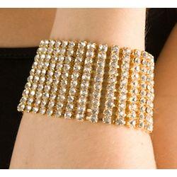 Gold Rhinestone Rounded Cuff Bracelet