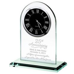 25th Anniversary Personalized Glass Clock