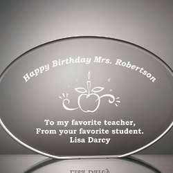 Teacher Birthday Plaque in Clear Acrylic