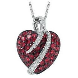 Sterling Silver Round Lab-Created Ruby Heart-Shaped Necklace