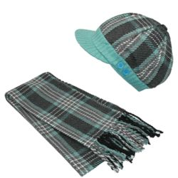 Women's Plaid Hat and Scarf Set