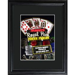 Personalized Marquee Nighttime Royal Flush Poker Framed Print
