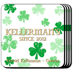 Personalized Raining Clovers Coaster Set