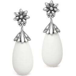 Gardenia White Agate Drop Earrings