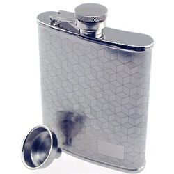 Engraved Blocks Pattern Hip Flask