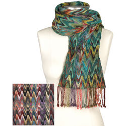 Modern Flame Stitch Fringed Scarf