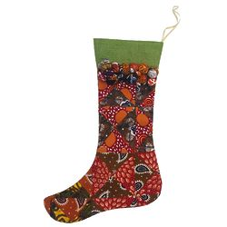 Cotton and Jute Batik Christmas Stocking