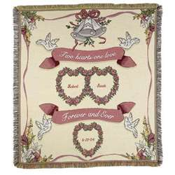 Two Hearts One Love Wedding Throw