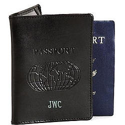 Personalized Black Leather Passport Cover