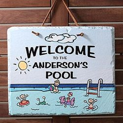 Welcome to Our Pool Personalized Slate Sign