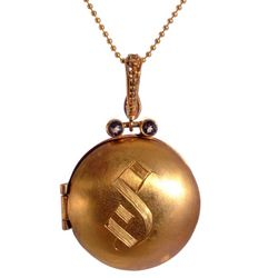 Personalized Initial Locket Necklace in Bronze and 14k Gold