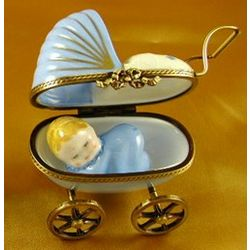 Blue Baby Carriage Limoges Box